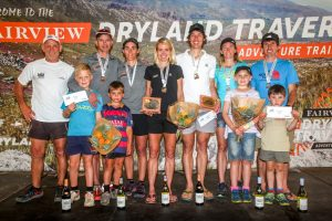 Fairview Dryland Traverse mixed category general classification podium. From left to right: Donald Mouton (Fairview Wine and Cheese), Rodolf van Rensburg and Janie van Rensburg (3rd Tortoise and the Hare), Landie Greyling and Christiaan Greyling (1st Salomon), Iain Don-Wauchope and Su Don-Wauchope (2nd Over the Hill[Billies]). 6 November 2016.