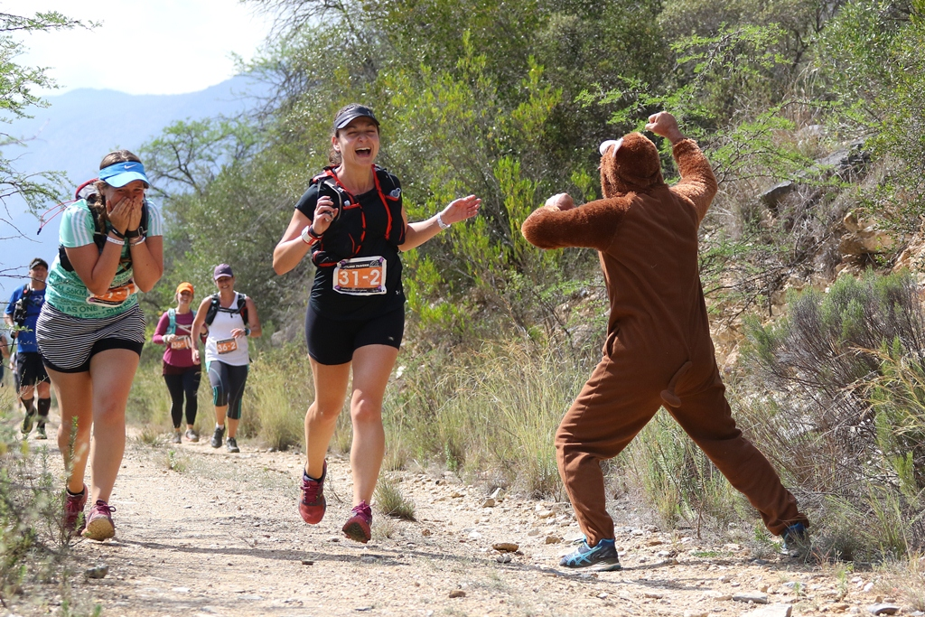 The Biogen Bear added a few extra thrills, first screams and then laughs, to the 2017 Dryland Traverse. Photo by Oakpics.com.