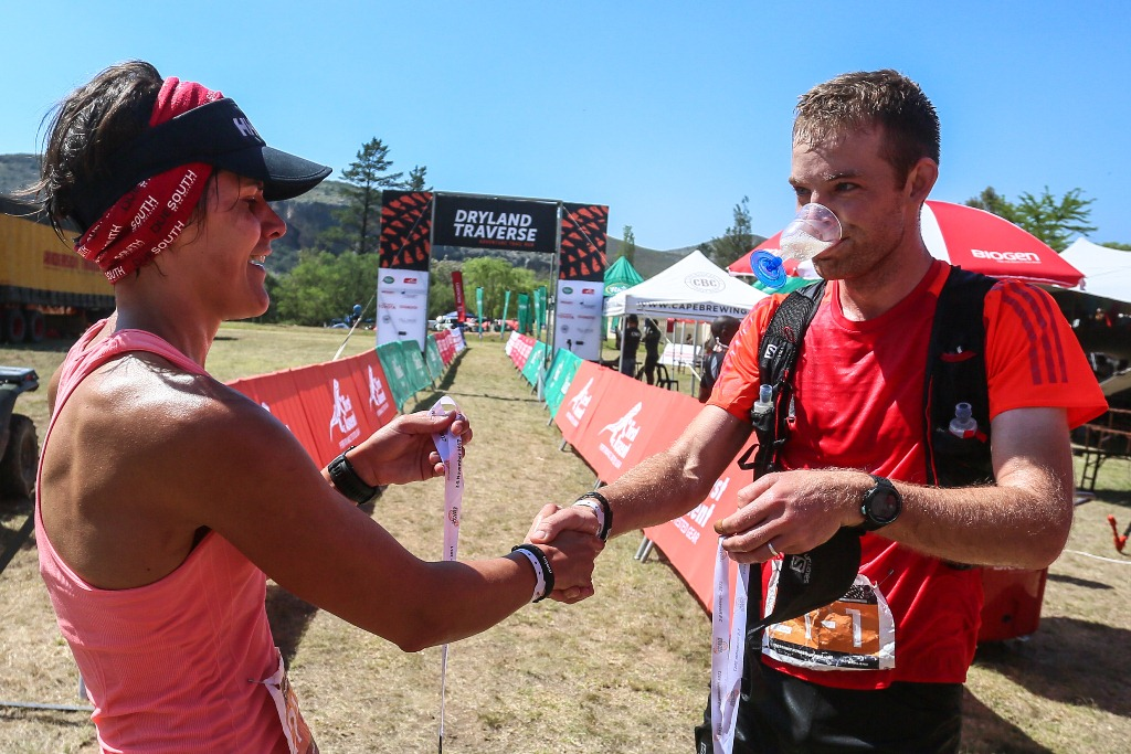 Carien Gagiano and Jeandre van Zyl celebrate a successful end to the 2017 Dryland Traverse. Photo by Oakpics.com.